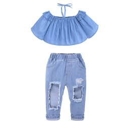 BaBy Blue coat suit online shopping - Kids Two piece Suit Baby Girl One Shoulder Sets Girl Hole Jeans Sling Long Bell Sleeve Coat Elastic Waist Pants