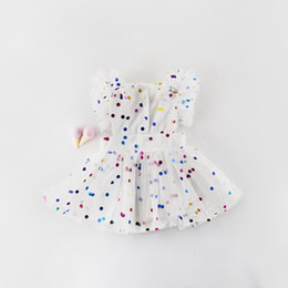 Wholesale 2019 Summer New Baby Girl Princess Dress Glitter Colorful Polka Dot Guze Dress Overalls Kids Clothing E81016