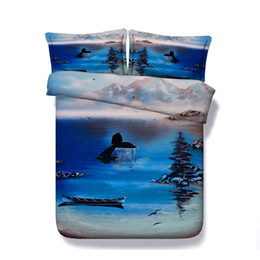 Animal Twin Comforter Set Australia - Blue Shark Fish Dolphin 3 Piece Duvet Cover Set Girls With Zipper Closure 2 Pillow Shams Teen Boys Kid Bedding Sets Animal Comforter Cover