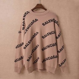 Wholesale v neck ladies tops online – 2019 Autumn Winter European Style Women Sweaters Print Letters Ladies Tops Thick Long Sleeve Pullover Warm Knitted Loose Sweater