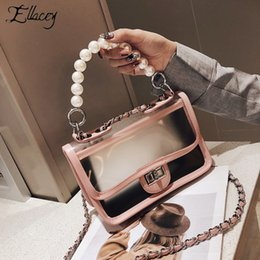 decoration pearls bag Canada - Pearl Decoration PVC Ladies Hand bags Summer Fashion Transparent Travel Beach Bag Shoulder Bag Chain Jelly Messenger