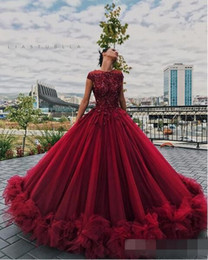 $enCountryForm.capitalKeyWord Australia - Luxury Puffy Red Floral Prom Formal Dresses 2019 Liastublla Design Lace Tutu Full length Princess Occasion Evening Gowns Wear