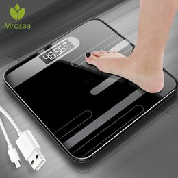 smart scales 2020 - Mrosaa Bathroom Body Floor Scales Glass Smart Body Fat Scale USB Charging LCD Display Body Weighing Digital Electronic S