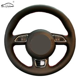a3 car Australia - Genuine Leather car steering wheel Cover For A3 A4 A5 A6 A7 Allroad 7 2014-2015 S6 S7 2013-2018 S8 Steering-Wheel Braid