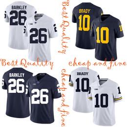 Football Jersey Brady NZ - Michigan Wolverines NCAA Jersey 10 Tom Brady Penn State Nittany Lions 26 Saquon Barkley Jersey Brady American College Football Wear sell