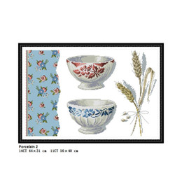 Chinese Porcelain Painting Australia - Porcelain 2 Scenery Paintings Counted Printed On Canvas DMC 11CT 14CT Chinese Cross Stitch kits Embroidery Needlework Wholesale Home Decor