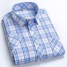 men dress xl NZ - 2019 new high-quality Oxford casual men's casual plaid male social shirts 100% cotton short-sleeved men dress shirts size m-5 xl