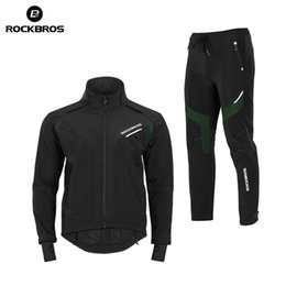 elastic waist jacket 2020 - ROCKBROS Hiking Sets Winter Thermal Fleece Pants Jersey Windproof Reflective Climbing Jacket Trouser Sportswear Bicycle