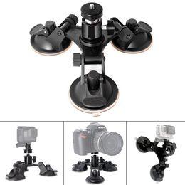 Großhandel 3 Beinauto-Saugnapfhalter-Dreieck + Mini-Stativkopfadapter für GO PRO 6 5 4 3+ Sjcam Xiaomi-Sooco-Kameras