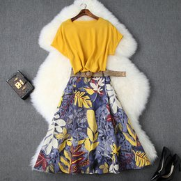 $enCountryForm.capitalKeyWord Australia - Women Girls Yellow Chiffon Tops And Blouses Batwing Sleeve + Floral Print Skirts Suit A-line Skirt Two Piece Set 2019 Summer