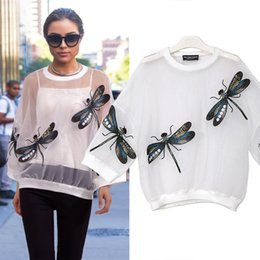 Wholesale Summer Dragonfly Embroidery Organza Button Decoration Stitching Free Size Loose Women s T Shirt Semipermeable Pullover Two Colors