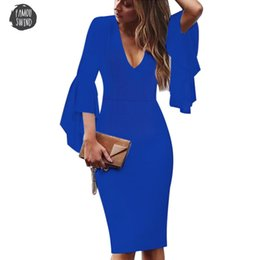 works bell Australia - Sexy Dress Womens Deep V Neck Bell Long Sleeves Bodycon Elegant Work Business Casual Party Slim Sheath Pencil Designer Clothes