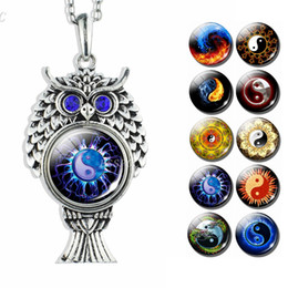 Discount glass yin - Yin Yang Jewelry Tai Chi Glass Cabochon Silver Plated Owl Pendant Long Chain Necklace Fashion Accessories for Women Love