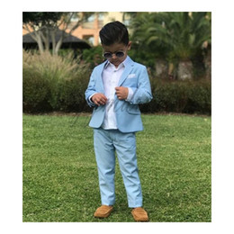 $enCountryForm.capitalKeyWord Australia - Sky Blue Kids Formal Wear Suit Children Wedding Tuxedos Ring Bearer Suits Boy Birthday Party Suit Two Piece (jacket+pants)
