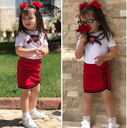 flower girl skirt top NZ - Brand Girls Uniform Newborn Kid Baby Girls Clothes Sets Designer Bow Flower Tie Tops T-shirt Short Mini Skirt Tutu Dress