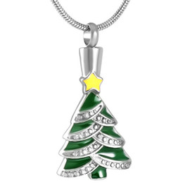 Discount memorial trees - Cremation Memorial Urn Pendant Personalized Stainless Steel Christmas Tree Keepsake Necklace Jewelry Ashes Holder