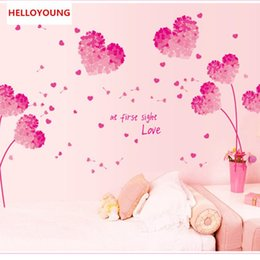 Wholesale DIY Romantic Pink Love Flower Photo Frame Waterproof Wall Sticker Home Decor Marriage Room Bedroom Decal Art Mural