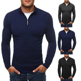 Beiläufige Strickjacke Men Solid Color Stehkragen Langarm Sweater Zipper Knit Black Men Pullover Herrenbekleidung Grau Marineblau kazak Au