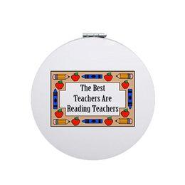 Discount health print - JWEIJIAO English teacher Beauty Health Round Portable mirror The teacher is a gardener PU leahter Printing charm espejo