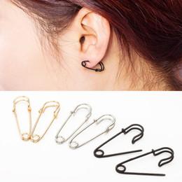 40402748c382e8 Silver Safety Pin Earrings Australia - New creative Pin shape Stud Earrings  Women Personalized simple brooch
