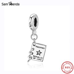 sterling silver figaro bracelet NZ - Authentic 100% 925 Sterling Silver Charms Bead Fit Original Pandora Bracelet Passport Pendant Charm Women DIY Jewelry Making