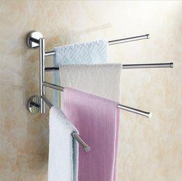 Wall Mounted Towel Bars Australia - Swivel Hanger Towel Bar with 4 Folding Swing Arm Bathroom Storage Organizer Rustproof Wall Mount Hanger SUS304 Stainless Steel