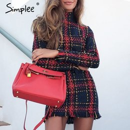 ElEgant kimonos online shopping - Simplee Elegant plaid tweed women dress winter Office lady long sleeve warm christmas dress Vintage sexy autumn dresses festa Y190117