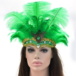 $enCountryForm.capitalKeyWord Australia - 9 Colors Indian Style Silver Sequined Party Headwear Carnival Masquerade Feather Headdress Brazil Rio Cuba Carnival Float Mask