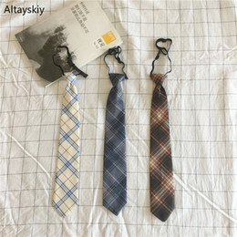 matching ties set 2019 - Ties Women Retro Plaid Printing Harajuku Womens Neck Tie All-match Korean Style Students Leisure Trendy Chic Simple Coll