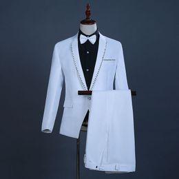 Court Suit Australia - 18th Century White European Court Wedding Suits Sequins Nightclub Singer Performance Clothing Costumes For Men(Jacket+Pants)