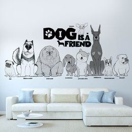 dog wall stickers for bedrooms 2019 - cartoon animal dog is friend Wall Sticker Removable Double Sided Visual Pattern kid's room Home Decoration House Wa