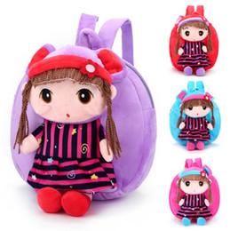 Cartoon Girls Hair Australia - 26x24x6cm 10sets Fashion Girl With Brown Hair Toys Backpack Cartoon 3D Toys kindergarten Girls Boys School Soft Plush Toys Shoulder Bags DHL