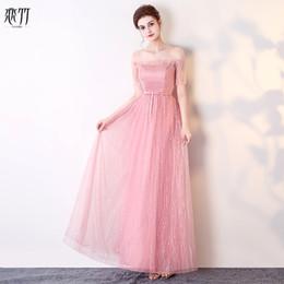 $enCountryForm.capitalKeyWord Australia - New pink fairy floor length cute summer lace lady girl women princess bridesmaid banquet party ball dress