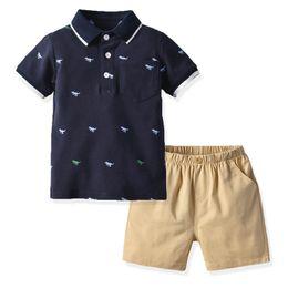 Best Wholesale T Shirts Australia - Ins dinosaur baby boy clothes Infant Outfits baby Boys Suits Boys Clothing Sets shirt T shirt+Shorts baby Best Suits boys clothes A4766