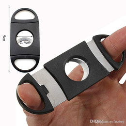 $enCountryForm.capitalKeyWord Australia - New Pocket Plastic Stainless Steel Double Blades Cigars Guillotine Cigar Cutter Knife Scissors Tobacco Black New In Stock