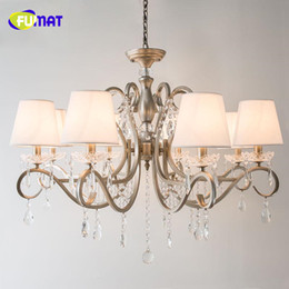 Wholesale FUMAT K9 Crystal Chandeliers European Style Metal Lights For Living Room Nordic Antique Finished Lustre LED Crystal Chandelier