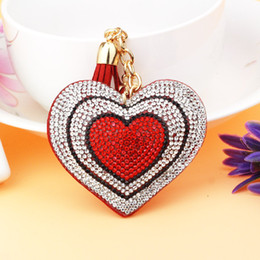 coral handbag Canada - cute keychain New Lovely Double Hearts Keychain Tassel Pendants Fashion Gifts Key Chains Handbag Decorative Supplies
