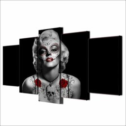 $enCountryForm.capitalKeyWord Australia - Marilyn Monroe Skull Hearts,5 Pieces The Latest Most Popular High-definition Canvas Printed Home Decorative Art  Unframed   Framed