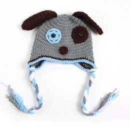 crochet baby puppy hats Australia - Novelty Grey Puppy Hat,Handmade Knit Crochet Baby Boy Girl Dog Animal Hat,Toddler Winter Cap,Infant Photography Prop