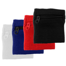 Wrist Band Cycling Australia - Set 4 Unisex Zipper Wallet Wrist Band Pocket Sweatband for Sport Travel Running Cycling Volleyball Basketball Football Baseball
