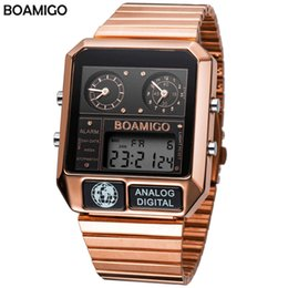 men square watch UK - BOAMIGO top men sports watches man fashion digital analog LED watches square quartz wristwatches relogio masculino
