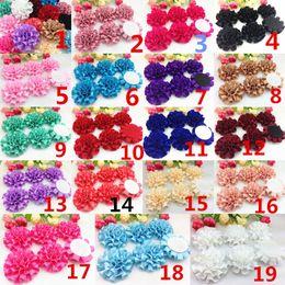 Big flowers peonies online shopping - 10pcs Satin Ribbon Big Peony Flower Appliques craft Wedding Decoration Color