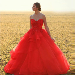 $enCountryForm.capitalKeyWord NZ - Vintage Ball Gown Red Prom Dresses Sweetheart 3D Flower with Bead Tiered Bottom Party Gown Tulle Puffy Long Graduation Dress 2019