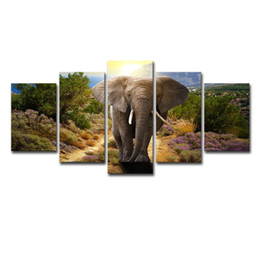 Elephant Panel Art UK - (Only Canvas No Frame) 5Pcs Cute Animal Elephant Wall Art HD Print Canvas Painting Fashion Hanging Pictures