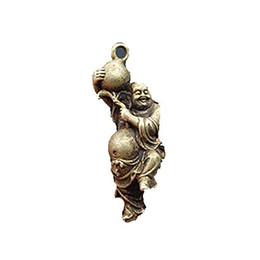 Gourd art online shopping - Chinese Brass Maitreya Buddha Holding a Gourd Auspicious Statue Pendant