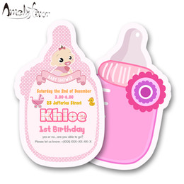 card making decorations 2019 - Girl Baby Shower Theme Party Invitation Card Birthday Party Decorations Supplies Blank Custom-made Feeding Bottle Invita