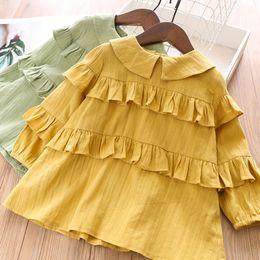 $enCountryForm.capitalKeyWord Australia - Kids tiered falbala mustard blouse fall new girls lace embroidered princess tops children doll lapel back buckle long sleeve shirt F9599