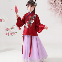 girls chinese costumes Australia - Girls Traditional Ancient Chinese Costume Tang Dynasty Hanfu Dress Folk Dance Clothing Fairy Kids Children Stage Wear DN4930