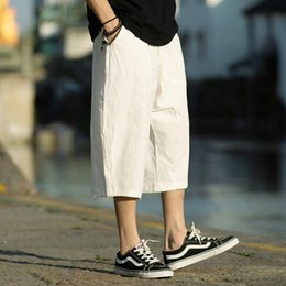 three quarters trousers 2019 - M-5XL Wide Leg Linen Drawstring Pants Elastic Waist Three Quarter Linen Trousers Mens Summer Loose Fit Casual Pants XXXX