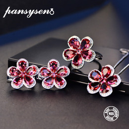 Ruby gemstone foR Rings online shopping - PANSYSEN Classic Flower S925 Silver Party Jewelry Sets For Women Red Ruby Gemstone Wedding Pendant Necklace Earrings Ring Sets